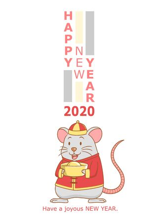 Happy New Year 2020 greeting card, year of the rat.