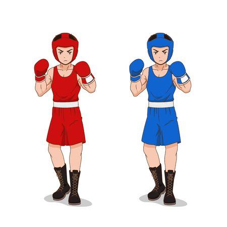 Personaje de dibujos animados de boxeador aficionado en ropa deportiva roja y azul.