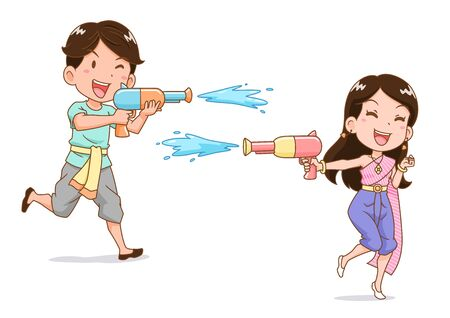 Cartoon character of boy and girl playing water gun in Songkran festival, Thailand.