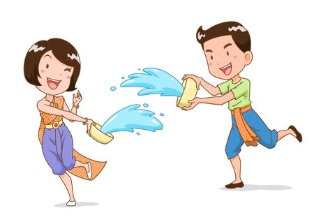 Cartoon character of boy and girl splashing water with water bowl in Songkran festival, Thailand. Illustration