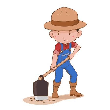 Cartoon character of farmer digging the ground.