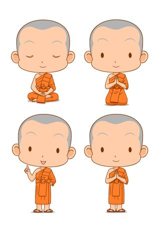 Cartoon character of Buddhist monks in different poses. Illustration