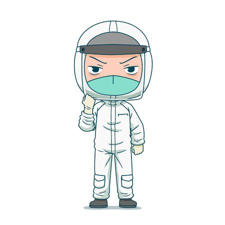 Cartoon character of doctor in safety protective clothing.