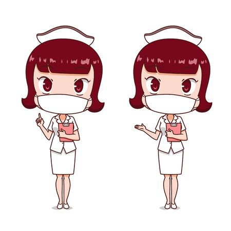 Cartoon character of nurse wearing hygienic mask. Illustration