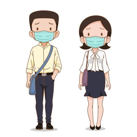 Cartoon character of Business man and woman wearing hygienic mask. Illustration