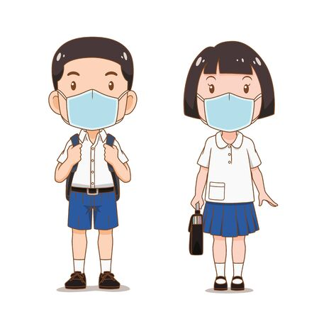Personnage de dessin animé d'étudiant garçon et fille portant un masque hygiénique.