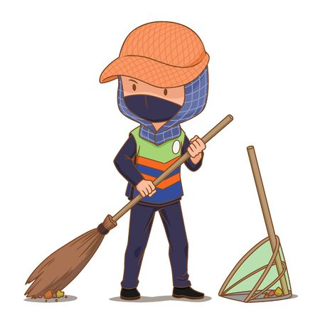 Cartoon character of street cleaner sweeping the floor.