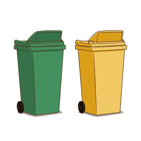 Green and yellow trash object vector.