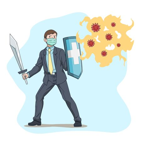 Cartoon vector business man fighting coronavirus, covid-19. Illustration