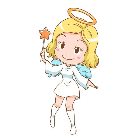 Cartoon character of cute angel holding magic wand.