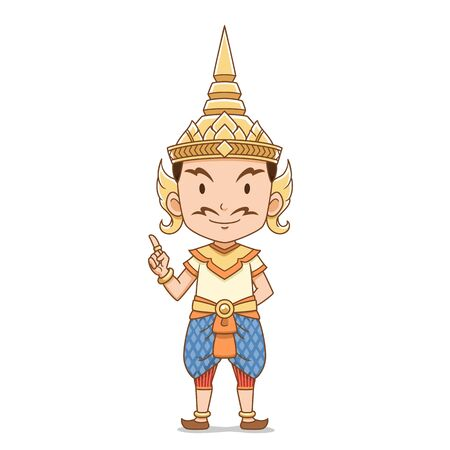 Cartoon character of traditional Thai angel male.