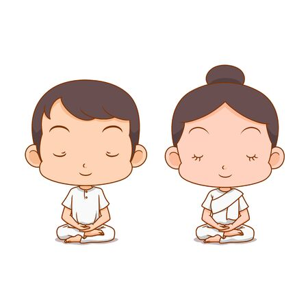 Cartoon character of boy and girl meditating in white clothes.