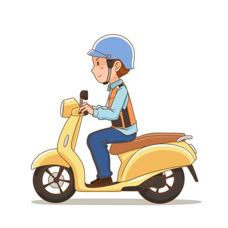 Cartoon character of motorbike taxi rider. Standard-Bild - 144142546