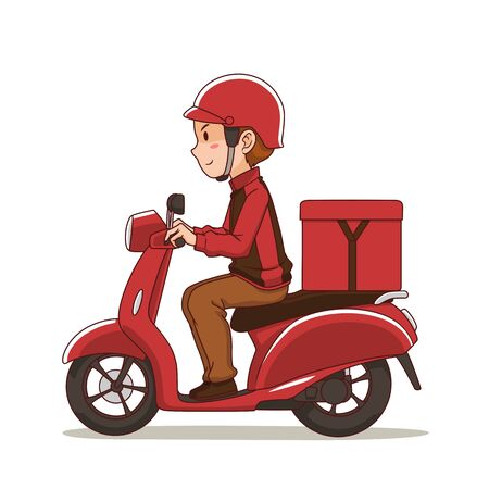 Cartoon character of food delivery man riding red motorcycle.