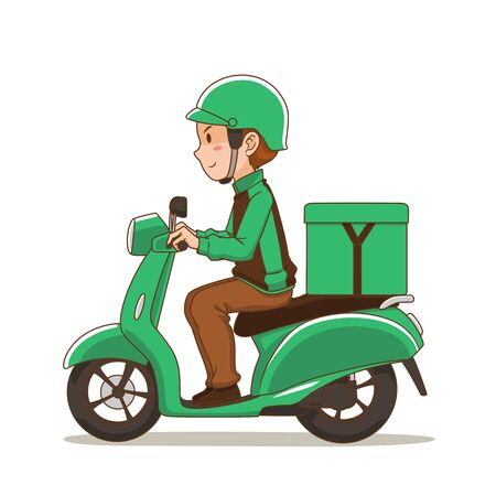 Cartoon character of food delivery man riding green motorcycle. Illustration