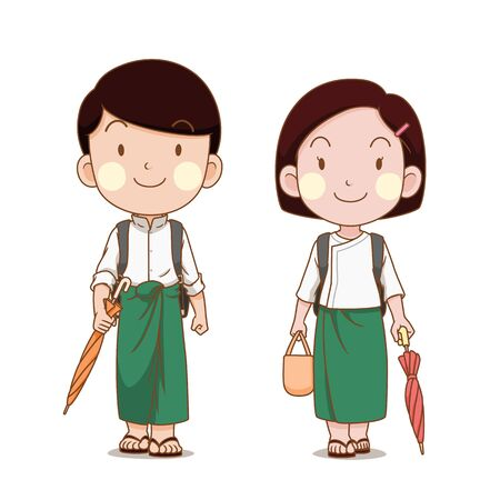 Cute couple of Myanmar students going to school.