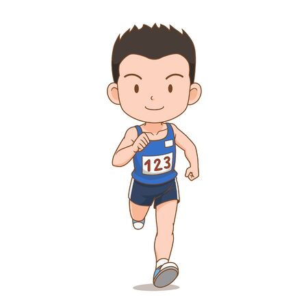Cartoon character of cute runner boy.