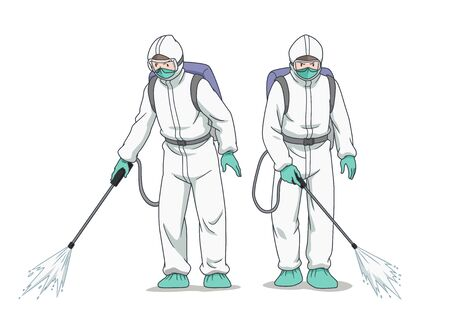 Cartoon character of disinfectant worker wearing protective mask and clothes, spraying coronavirus or covid-19.