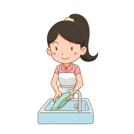 Cartoon character of woman washing dish.