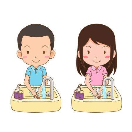 Cartoon character of cute boy and girl washing hands. Illustration