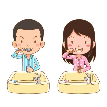 Cartoon character of boy and girl brushing teeth. Illustration