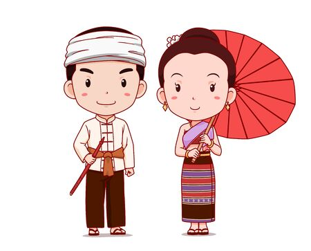 Cute couple of cartoon characters in Thai Lanna traditional costume.
