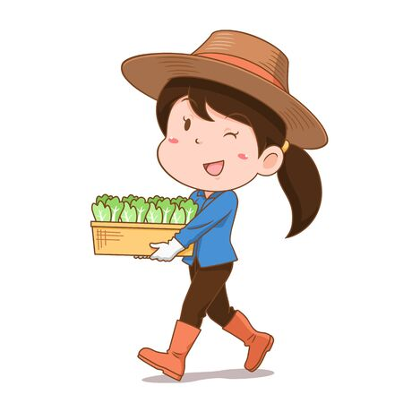 Cartoon character of agriculturist girl carrying vegetables. Illustration