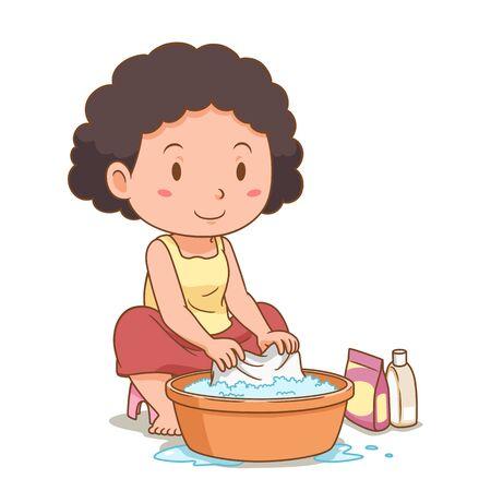 Personnage de dessin animé de femme lavant les vêtements avec un bassin en plastique.