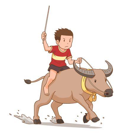 Cartoon character of boy riding buffalo in buffalo racing festival.