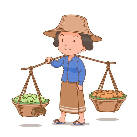 Cartoon character of Thai woman hawker carrying fruit baskets.