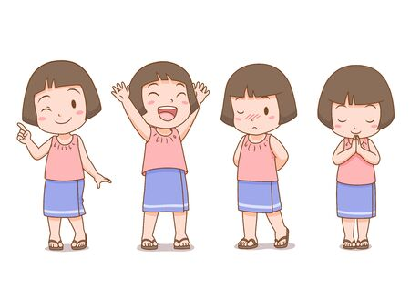 Set of cartoon cute girl in Thai folk dress in different poses. Imagens - 145754250