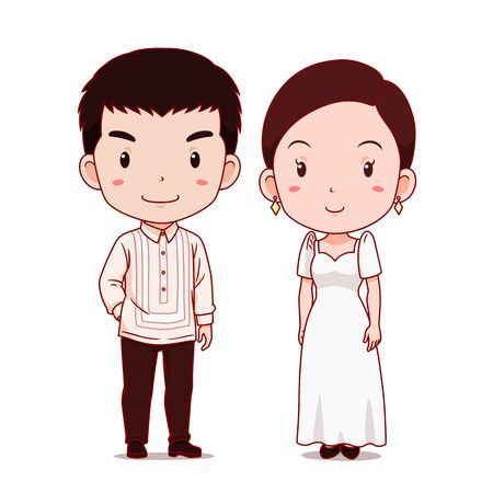 Cute couple of cartoon characters in Philippines traditional costume. Illustration