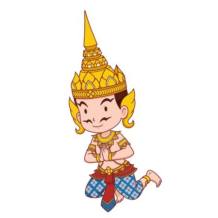Cartoon character of Thai traditional angel male.