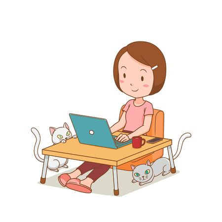Cartoon character of freelancer girl working at home with laptop. Illustration