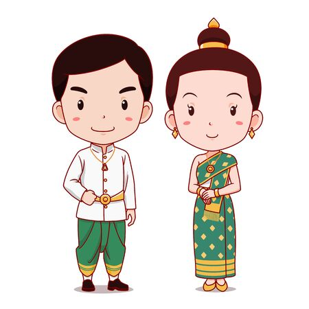 Cute couple of cartoon characters in Laos traditional costume.