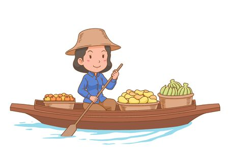 Cartoon character of floating market vendor rowing the boat.