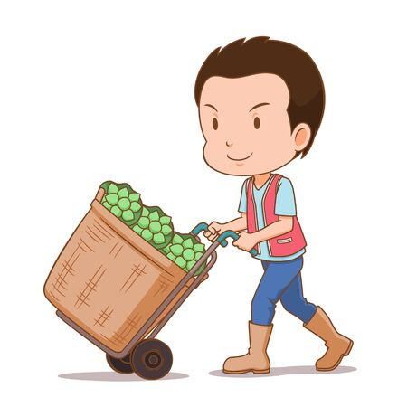 Cartoon character of flowers delivery man with his cart contains lotus flowers.