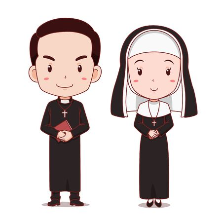 Cartoon character of catholic priest and nun. Illustration