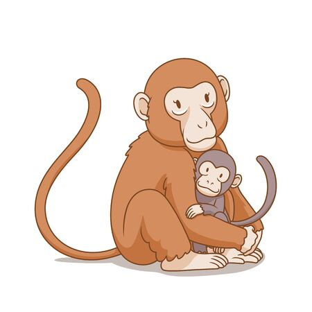 Cartoon illustration of mother monkey hug the baby monkey.