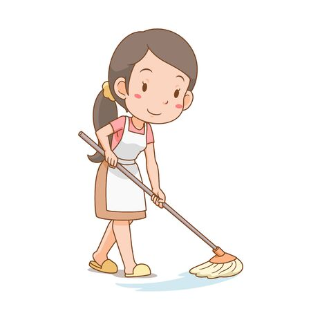 Cartoon character of housewife cleaning the floor. Illustration