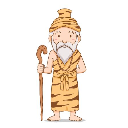 Cartoon character of old hermit holding staff.