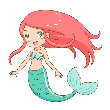Cartoon character of cute mermaid girl.