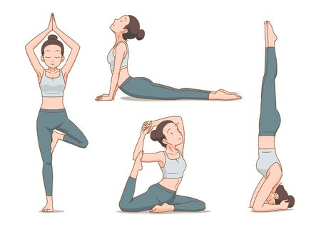 Set of cartoon woman in yoga poses.