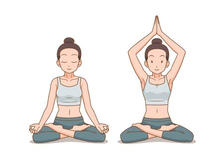 Cartoon illustration of woman do yoga in lotus pose or cross legged sitting meditation pose.
