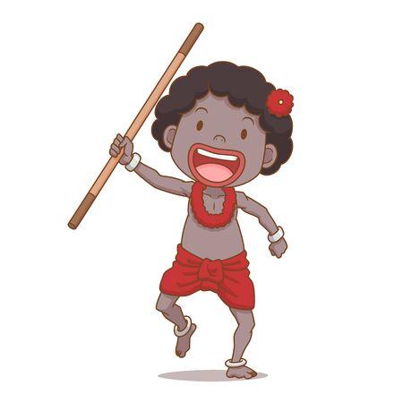 Cartoon character of Sakai boy holding baton, ethnic group of Thailand.