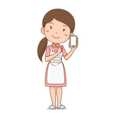 Cartoon character of housewife shopping online via smartphone.