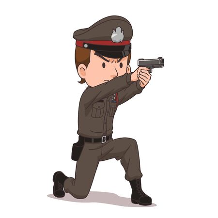 Cartoon character of Thai police pointing a gun. Imagens - 148983821