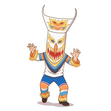 Cartoon illustration of Phi Ta Khon ghost in Bun Luang festival, Northeastern Thailand.