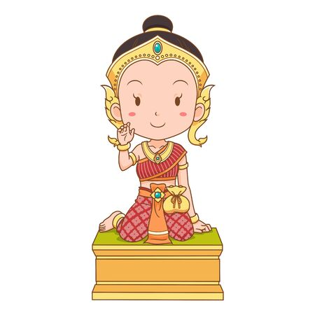 cartoon character of Nang Kwak is a household divinity of Thai folklore. She is deemed to bring good fortune, wealth, prosperity, attract customers to a business. Illustration