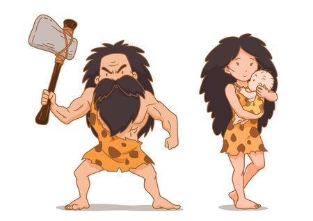 Cartoon character of caveman holding stone axe and cavewoman carrying baby. Illustration